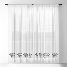 Massi the pug Sheer Curtain