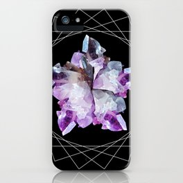 Crystal Totem Line Work Occult Tattoo Style Illustration iPhone Case