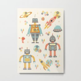 Vintage Inspired Robots in Space Metal Print