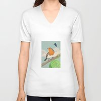 robin V-neck T-shirts featuring Robin by Carl Conway