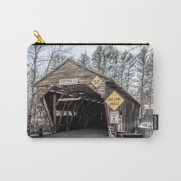 Durgin Covered Bridge over Cold River Sandwich New Hampshire Historic Structure Black and White Photograph Carry-All Pouch