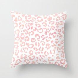 Blush pink modern leopard pattern watercolorpattern Throw Pillow