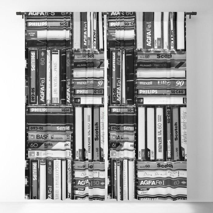 Music Cassette Stacks - Black and White - Something Nostalgic IV #decor #society6 #buyart Blackout Curtain