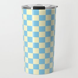 Cream Yellow and Baby Blue Checkerboard Travel Mug