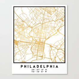 PHILADELPHIA PENNSYLVANIA CITY STREET MAP ART Canvas Print