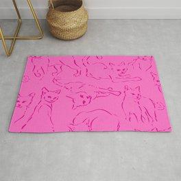 Cat Crazy pink line Rug