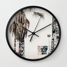 graffiti palms Wall Clock