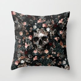 Skull and Floral pattern Throw Pillow