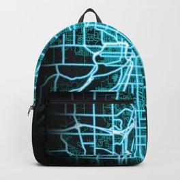 Grand Rapids, MI, USA Blue, White, Neon, Glow, City, Map Backpack