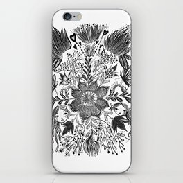 Me and you, day and night in our messy garden iPhone Skin