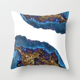Agate metallic blue & gold Throw Pillow