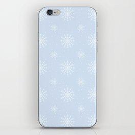 Delicate Blue Winter Snowflake Pattern iPhone Skin
