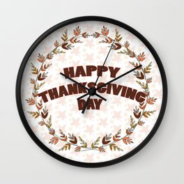 Greating card on Thanksgiving day Wall Clock