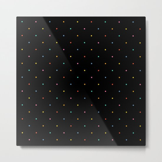Happy Dots on Black Metal Print