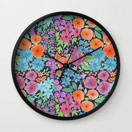 Floral watercolor pattern Wall Clock