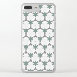 Decorative Grey White Pastel Green Pattern Clear iPhone Case