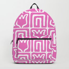 Mid Century Flower Garden Pattern 381 Pink Backpack