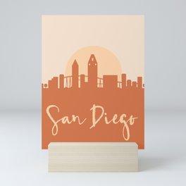 SAN DIEGO CALIFORNIA CITY SUN SKYLINE EARTH TONES Mini Art Print