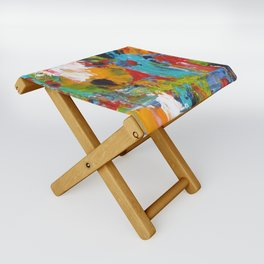 """The Abstract Mediterranean"" Acrylic Painting by Noora Elkoussy Folding Stool"
