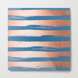 Trendy Stripes Sweet Peach Coral Pink + Saltwater Taffy Teal Metal Print