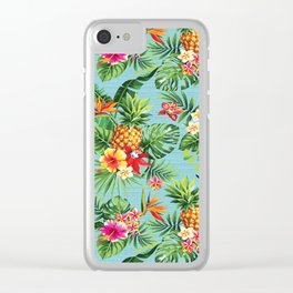 Bright Blue Tropical Clear iPhone Case