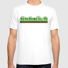 Tree Line White SMALL Mens Fitted Tee