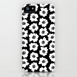 Linocut botanical nature floral flower art nursery black and white decor newborn iPhone Case