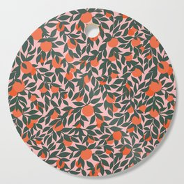 Oranges and Leaves Pattern - Pink Cutting Board