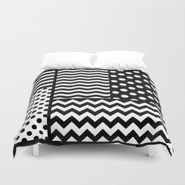 Mixed Patterns (Horizontal Stripes/Polka Dots/Wavy Stripes/Chevron/Checker) Duvet Cover