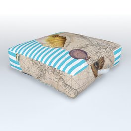 Marine Treasures Blue Stripes Outdoor Floor Cushion