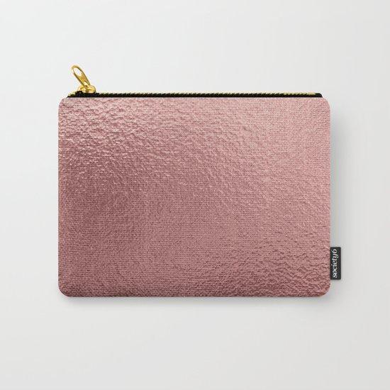 Rose quartz- pink metal foil backround Carry-All Pouch