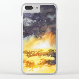 Watercolor Sky No 5 - colorful rain clouds Clear iPhone Case