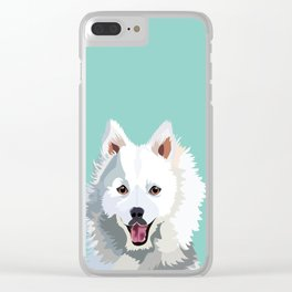 Japanese Spitz pet portrait wall art and gifts for dog breed lovers Clear iPhone Case