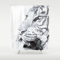 tiger Shower Curtains featuring Tiger by Kirsten Neil