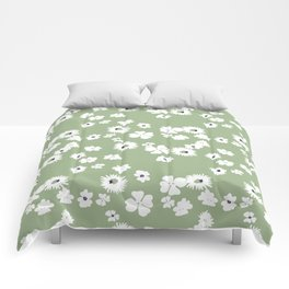 Modern floral on dusty green ground Comforters
