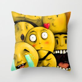 Whatsapp Emoticons Throw Pillow
