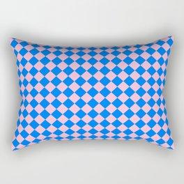 Cotton Candy Pink and Brandeis Blue Diamonds Rectangular Pillow