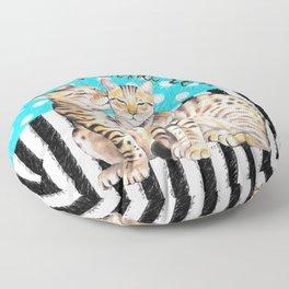 Bengal Cats Polka Dot Watercolor Love Floor Pillow