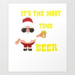 Funny Christmas Santa Art Print