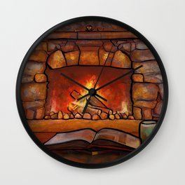 Fireplace (Winter Warming Image) Wall Clock