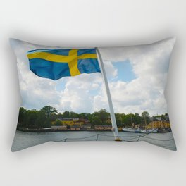 Flag of Sweden on Stern of Ship at Stockholm Rectangular Pillow