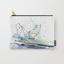 Windsurfer riding wave in watercolor Carry-All Pouch
