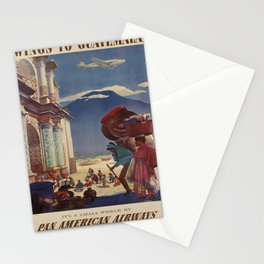 vintage poster Wings to Guatemala voyage poster Stationery Cards