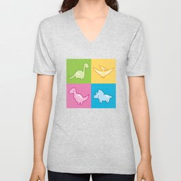 Colorful dinosaurs and pterodactyl cheater quilt Unisex V-Neck