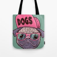 dogs Tote Bags featuring Dogs by Lime