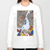 montreal Long Sleeve T-shirts featuring montreal map mondrian by Mondrian Maps