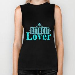 Detroit lover | Michigan logo Lettering Biker Tank