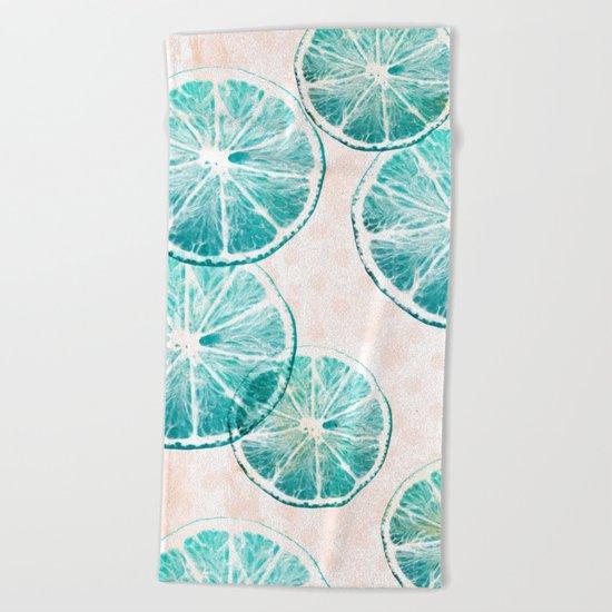 Turquoise citrus Beach Towel