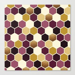 Hexagon Wine and Gold Palette Canvas Print