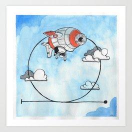 Airplane making a looping - aresti Art Print